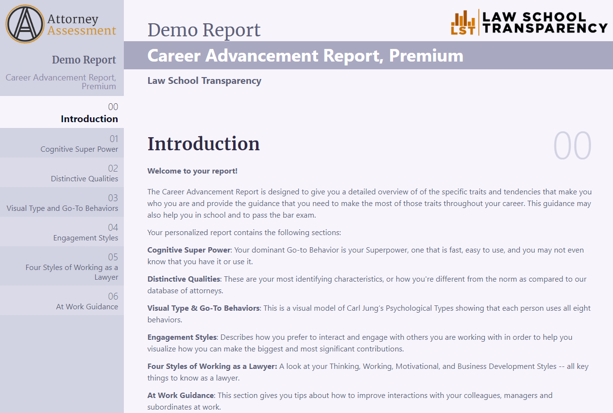 Link to Demo Career Advancement Report